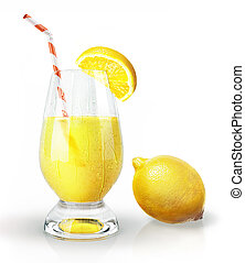 Lemon fruit and glass of juice with straw and clove On white...