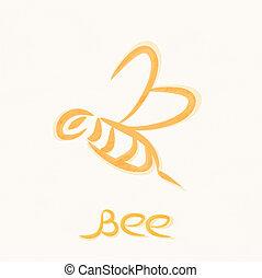 símbolo,  vector, trabajando, abeja