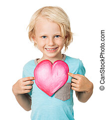 Cute young boy holding love heart - Portrait of a very cute...