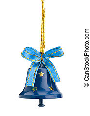 Christmas hand bell with a bow, Isolated on white background...