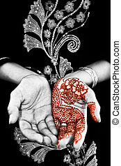 Henna, Mehendi on Brides Hand - Black and White