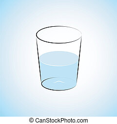 Water Glass - Half Filled Water Glass Illustration