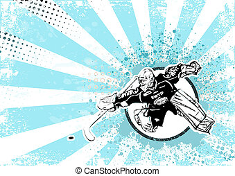 ice hockey retro poster background - illustration of ice...