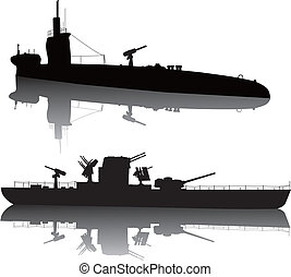 Military silhouettes - WW2 submarine and military ship...