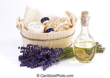 Spa with Lavender Oil - Massage supplies, bunch of lavender...