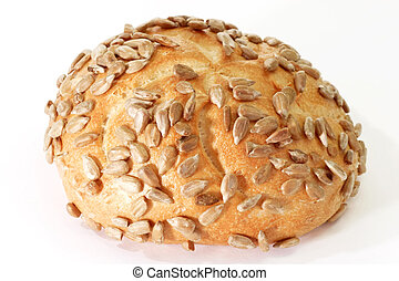 Sunflower Seed Bun - Sunflower seed bun - isolated on white...