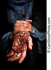 Mehendi, henna on brides hand - Color