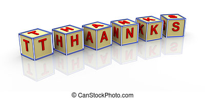 3d alphabet cubes of thanks - 3d render of reflective thanks...