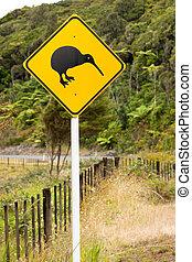 Close-up of kiwi road sign - A close-up of a kiwi bird...