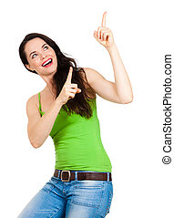 Happy beautiful woman pointing - A beautiful happy young...