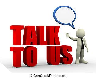 3d businessman talk us