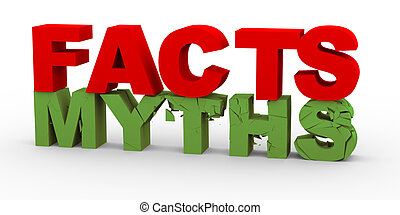 3d facts over myths - 3d render of word facts breaking word...