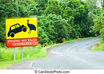 Cassowary road warning sign in Australia - A cassowary road...
