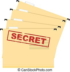 Secret documents - Stamp warning secrecy A set of files of...