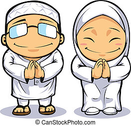 Cartoon of Muslim Man and Woman - A vector image of a man a...