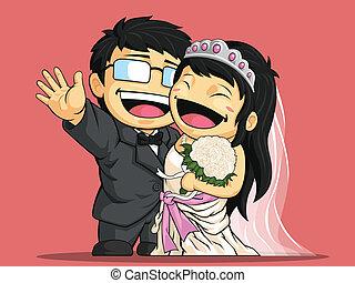 Cartoon of Happy Wedding Bride & Gr