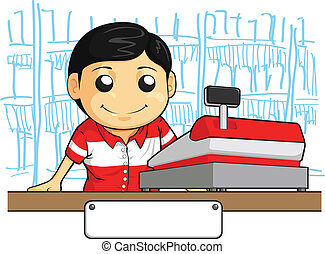 Cashier Employee with Friendly Smil - A vector image of a...