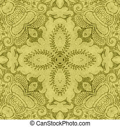 Vintage Floral Tapestry - Worn yellow and brassy old gold...