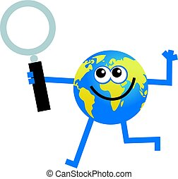 magnify globe - cartoon world globe man holding a magnifying...