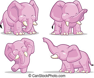 Elephant in Several Poses - Standin - A vector set of a cute...