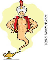 Genie Appear from Magic Lamp - A vector image of a male...