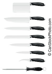 knife set for the kitchen vector