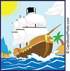 Pirate Ship on the Shore (Square fr - A vector of a pirate...