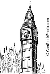 Sketch of Big Ben London - A vector image of an...