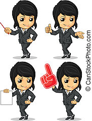 Smiling Businesswoman Mascot in Man - A vector set of...