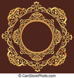 Golden Circle Ornament - A vector set of a beautiful...