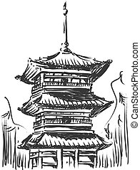 Sketch of Japan Landmark - Kiyomizu - A vector image of an...