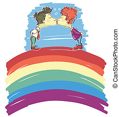gay couple kissing on abstract rainbow .Vector sketch...