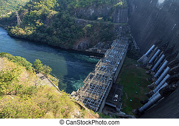 Aerial view of hydroelectric power plant