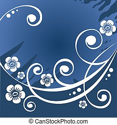 dark blue flower background - dark blue stylized background...