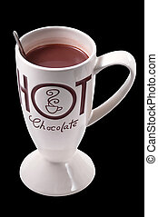 Hot chocolate drink clip art black BG with clipping path.
