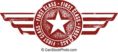 First Class Travel Stamp - Retro style first class airplane...