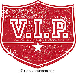 VIP Very Important Person Badge - Grunge rubber stamp style...