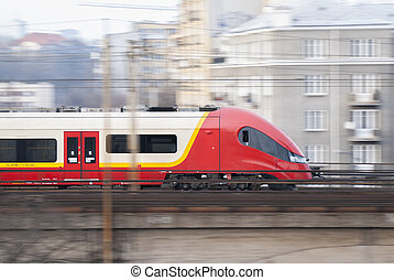 Speeding Train, Warsaw, Poland - Speeding train taking...