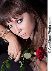 face girl with rose