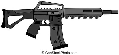 Assault rifle - This illustration depicts a black assault...