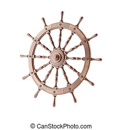 Steering wheel of the ship isolated on a white background