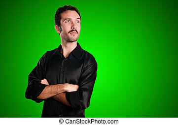 successful business man on green background