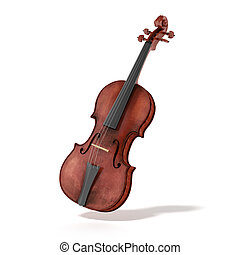 Old violin isolated on a white background