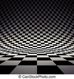 Black and white checker 3d rendered image
