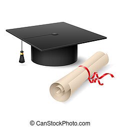 Graduation cap and diploma Illustration on white background