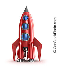 Retro red rocket concept. Isolated on white.