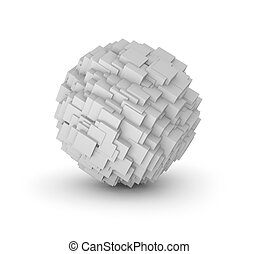 Abstract sphere composed from cubes Isolated on white