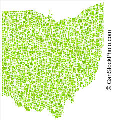 Decorative map of Ohio - USA - - Map of Ohio - USA - in a...