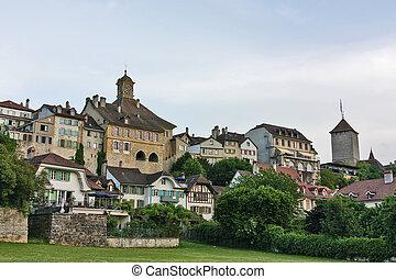 Murten,Switzerland - Murten is located on the southern...