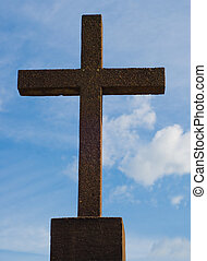 Religious Cross - A religious cross shot against blue sky